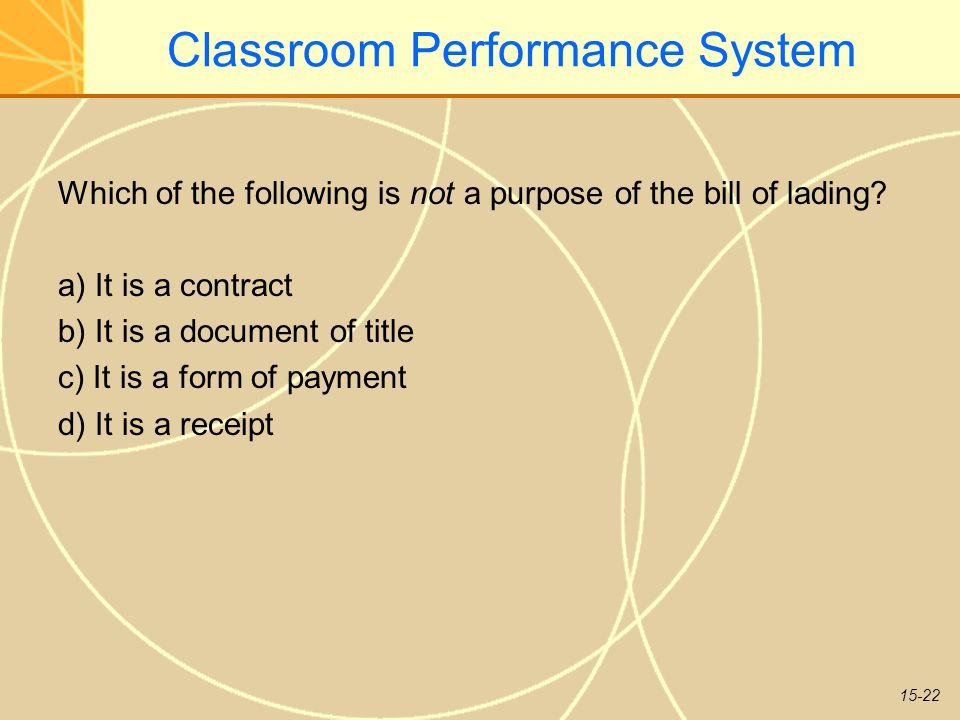 15-22 Classroom Performance System Which of the following is not a purpose of the bill of lading.