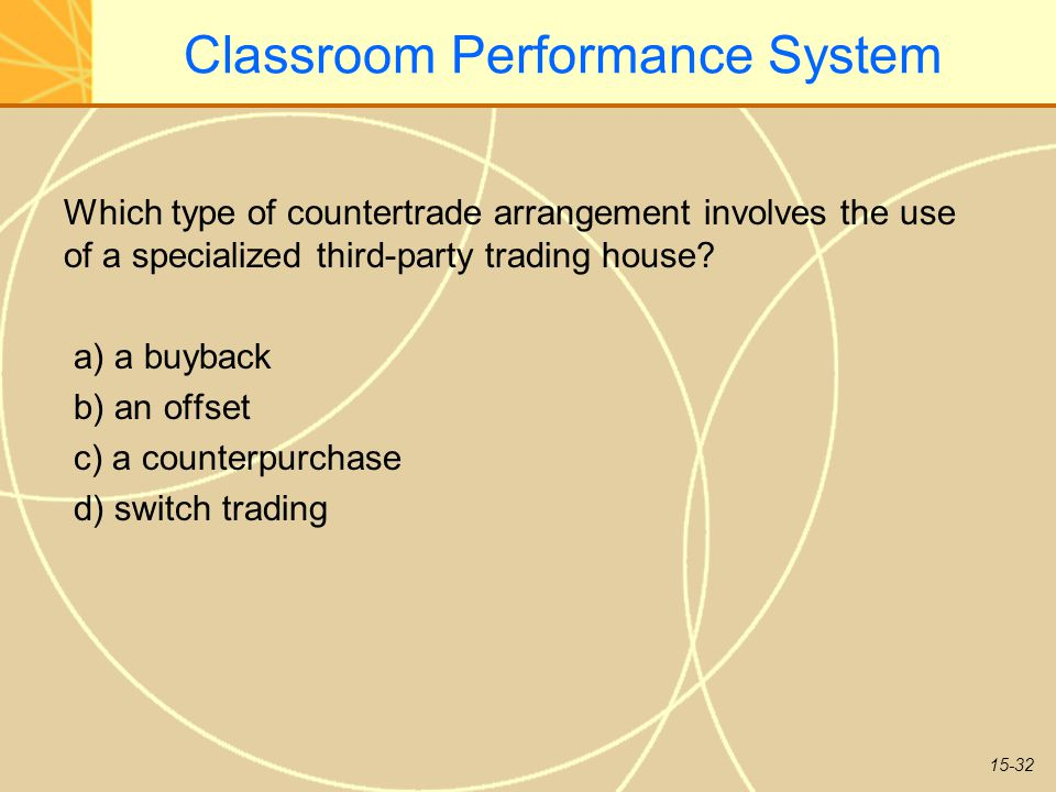 15-32 Classroom Performance System Which type of countertrade arrangement involves the use of a specialized third-party trading house.