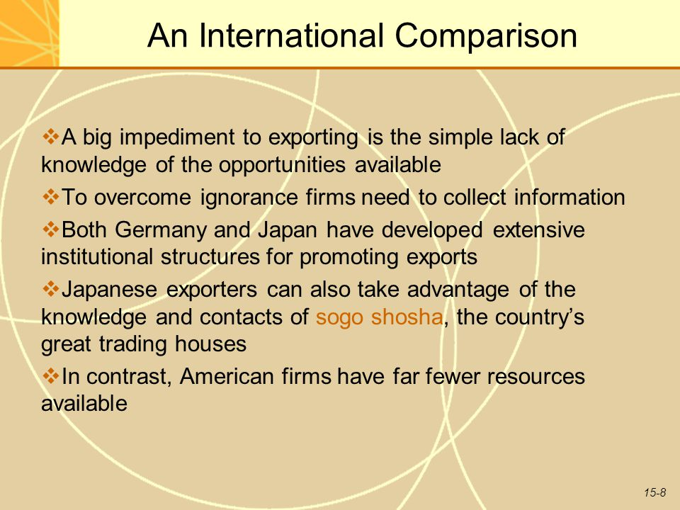 15-8 An International Comparison  A big impediment to exporting is the simple lack of knowledge of the opportunities available  To overcome ignorance firms need to collect information  Both Germany and Japan have developed extensive institutional structures for promoting exports  Japanese exporters can also take advantage of the knowledge and contacts of sogo shosha, the country's great trading houses  In contrast, American firms have far fewer resources available
