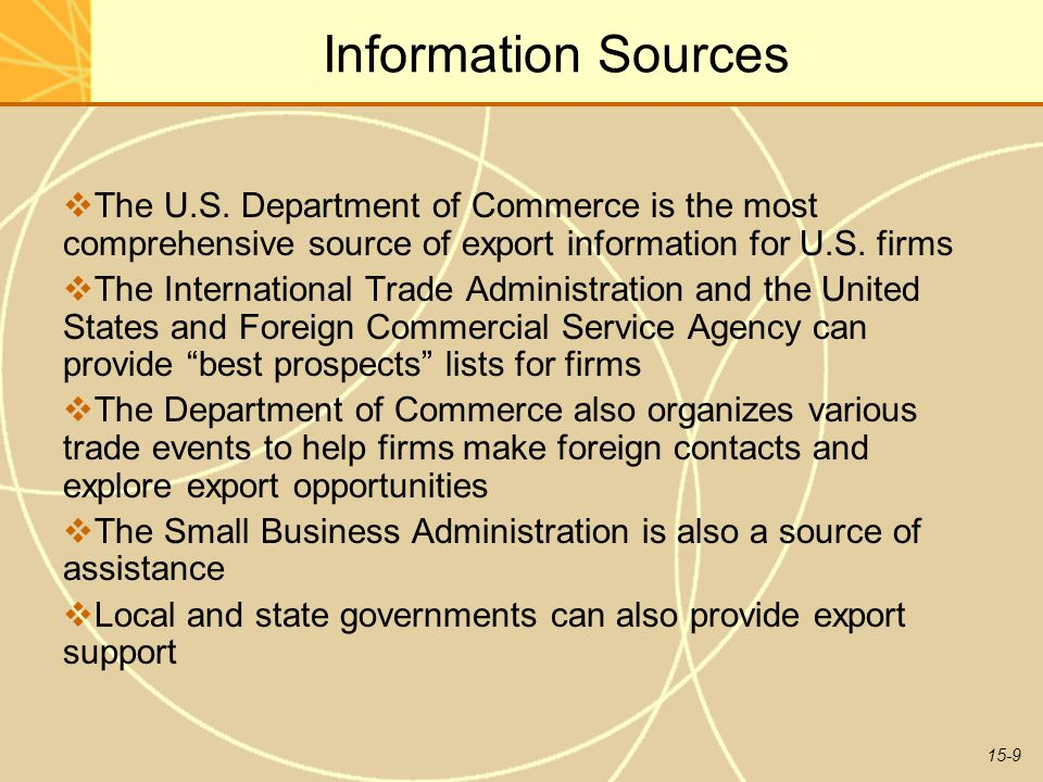 15-9 Information Sources  The U.S.