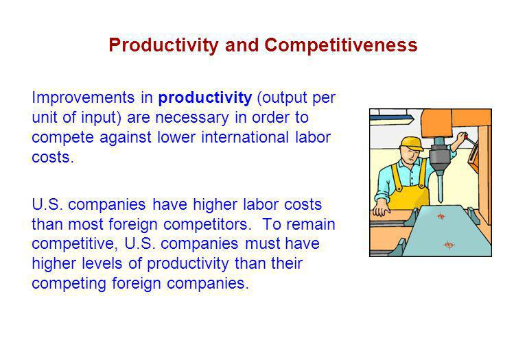 Productivity and Competitiveness Improvements in productivity (output per unit of input) are necessary in order to compete against lower international labor costs.