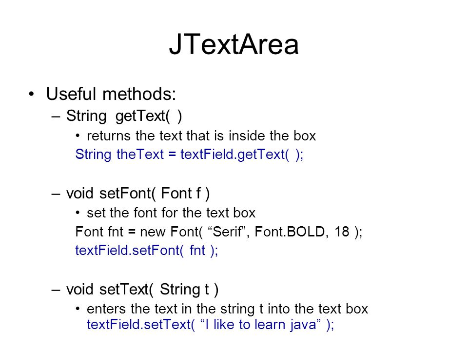 Swing! Components and Images  Example Swing Components (also