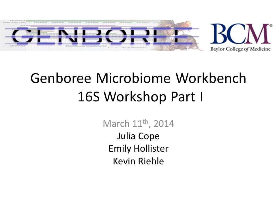 Genboree Microbiome Workbench 16S Workshop Part I March 11 th, 2014 Julia Cope Emily Hollister Kevin Riehle