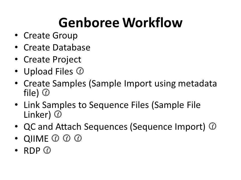 Genboree Workflow Create Group Create Database Create Project Upload Files  Create Samples (Sample Import using metadata file)  Link Samples to Sequence Files (Sample File Linker)  QC and Attach Sequences (Sequence Import)  QIIME    RDP 