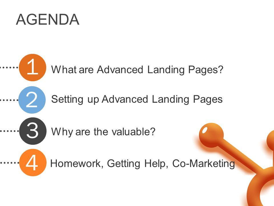 AGENDA What are Advanced Landing Pages. Setting up Advanced Landing Pages Why are the valuable.