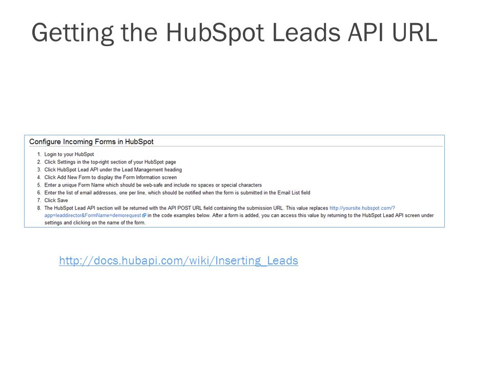 Getting the HubSpot Leads API URL