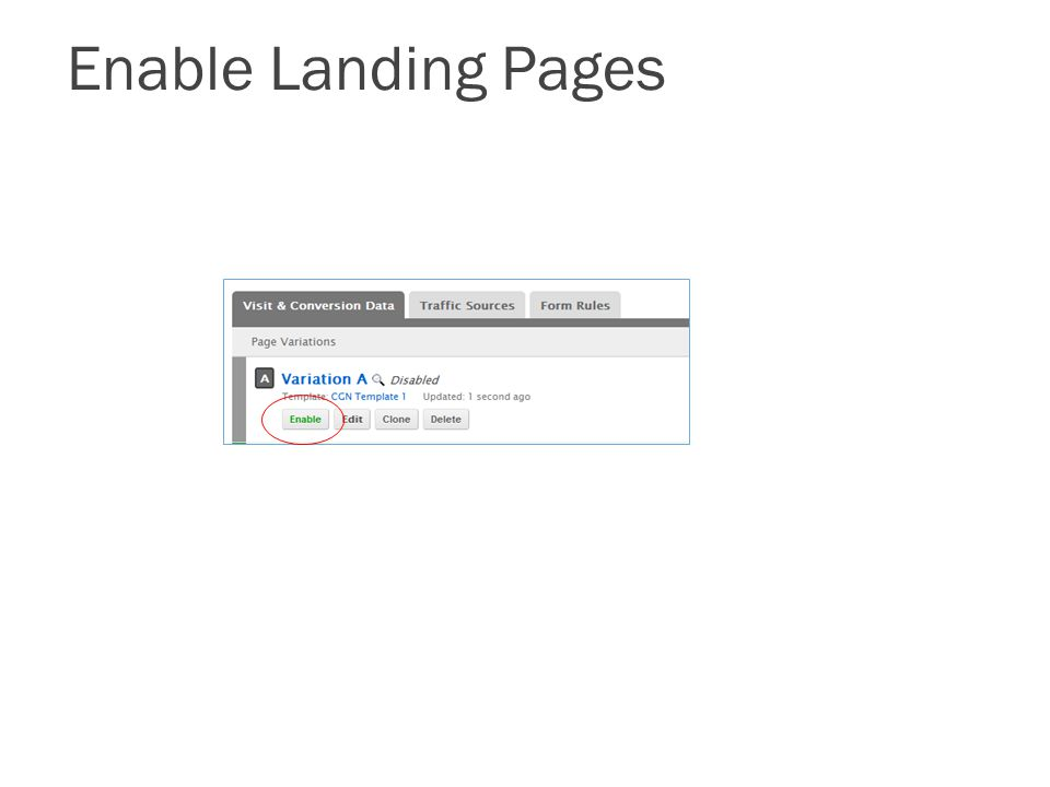 Enable Landing Pages