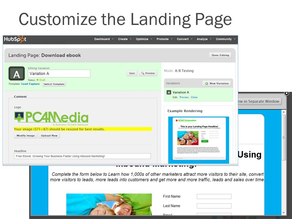 Customize the Landing Page