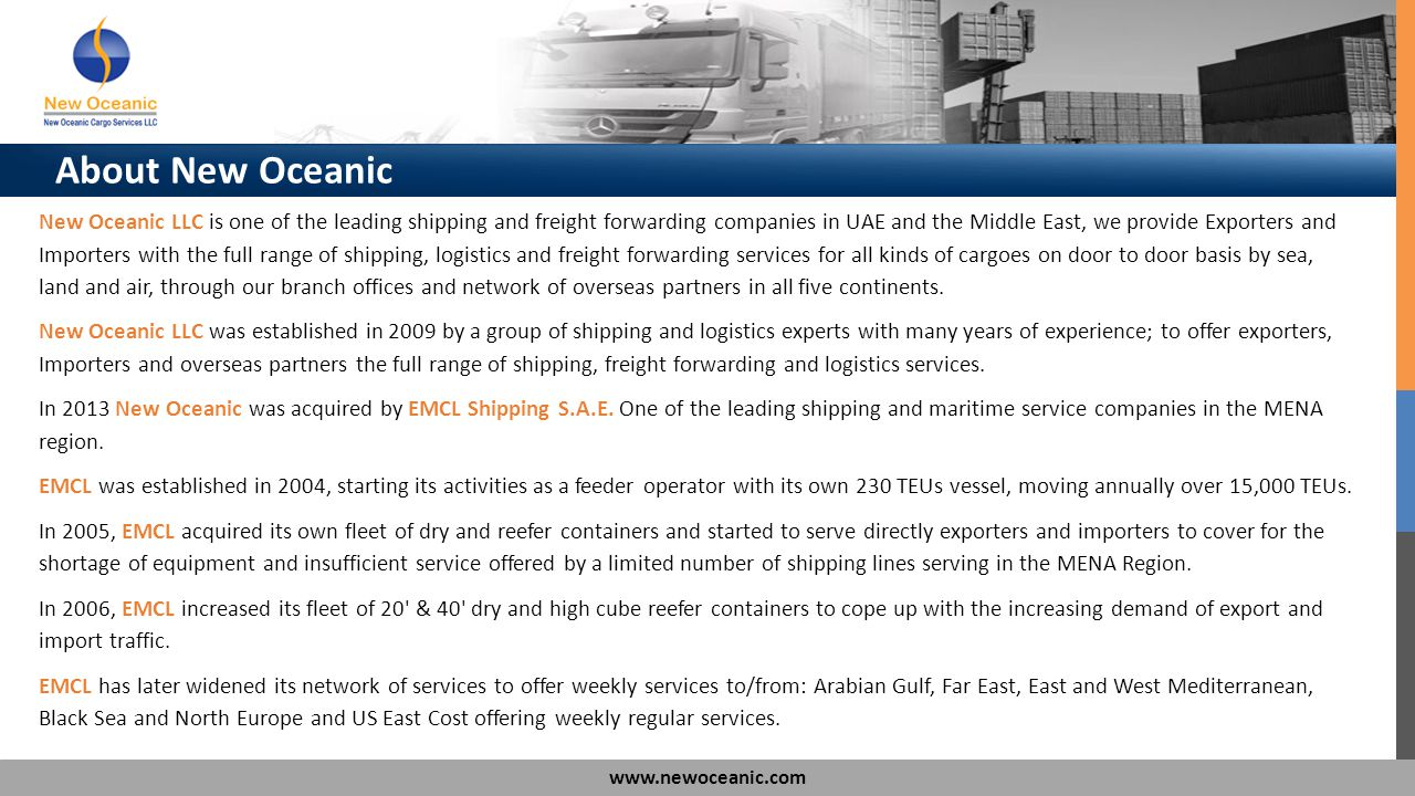 About New Oceanic New Oceanic LLC is one of the leading shipping and