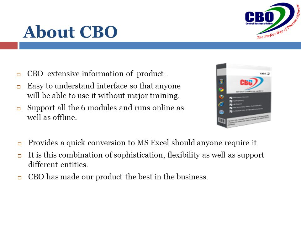 About CBO  CBO extensive information of product.