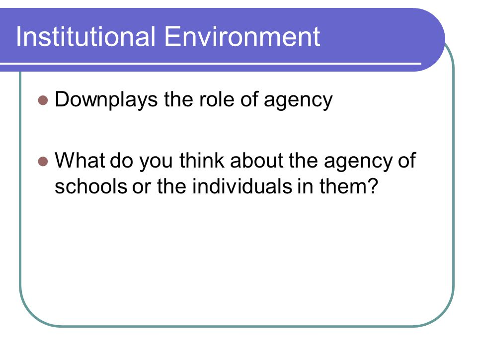 Institutional Environment Downplays the role of agency What do you think about the agency of schools or the individuals in them