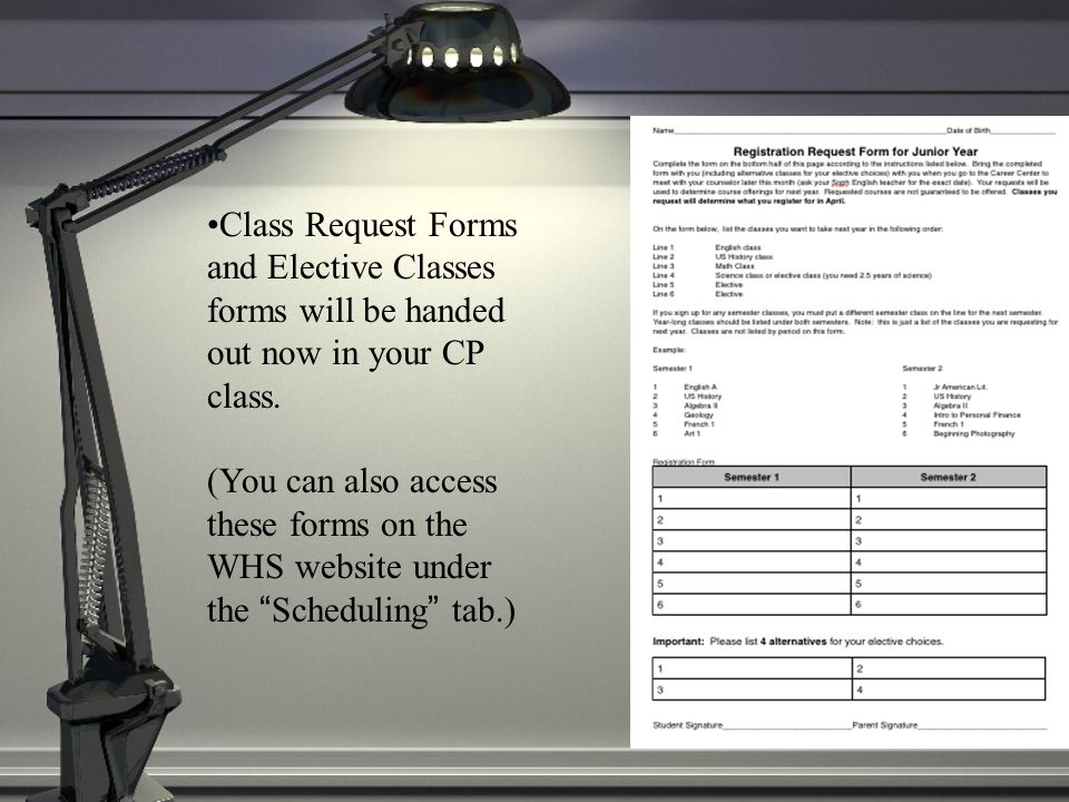 Class Request Forms and Elective Classes forms will be handed out now in your CP class.