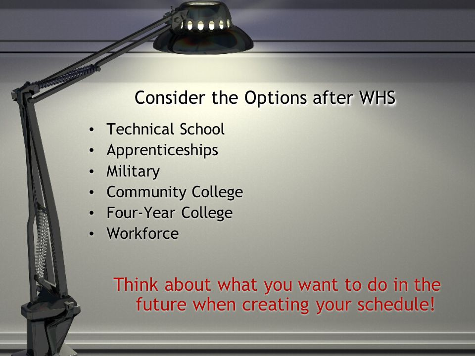Consider the Options after WHS Technical School Apprenticeships Military Community College Four-Year College Workforce Think about what you want to do in the future when creating your schedule!