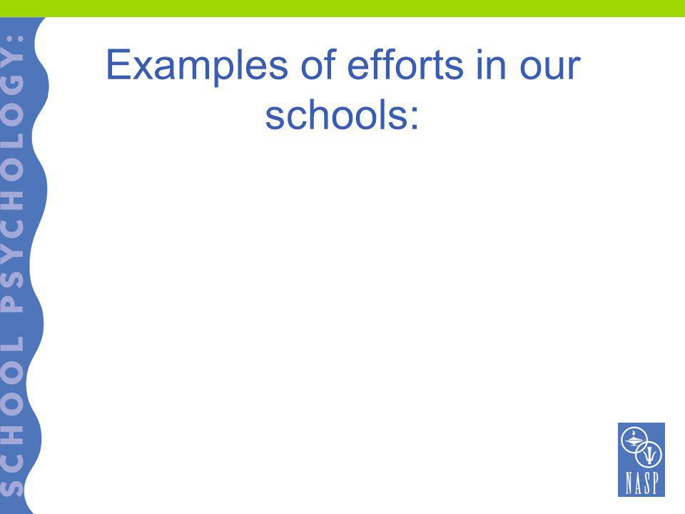 Examples of efforts in our schools: