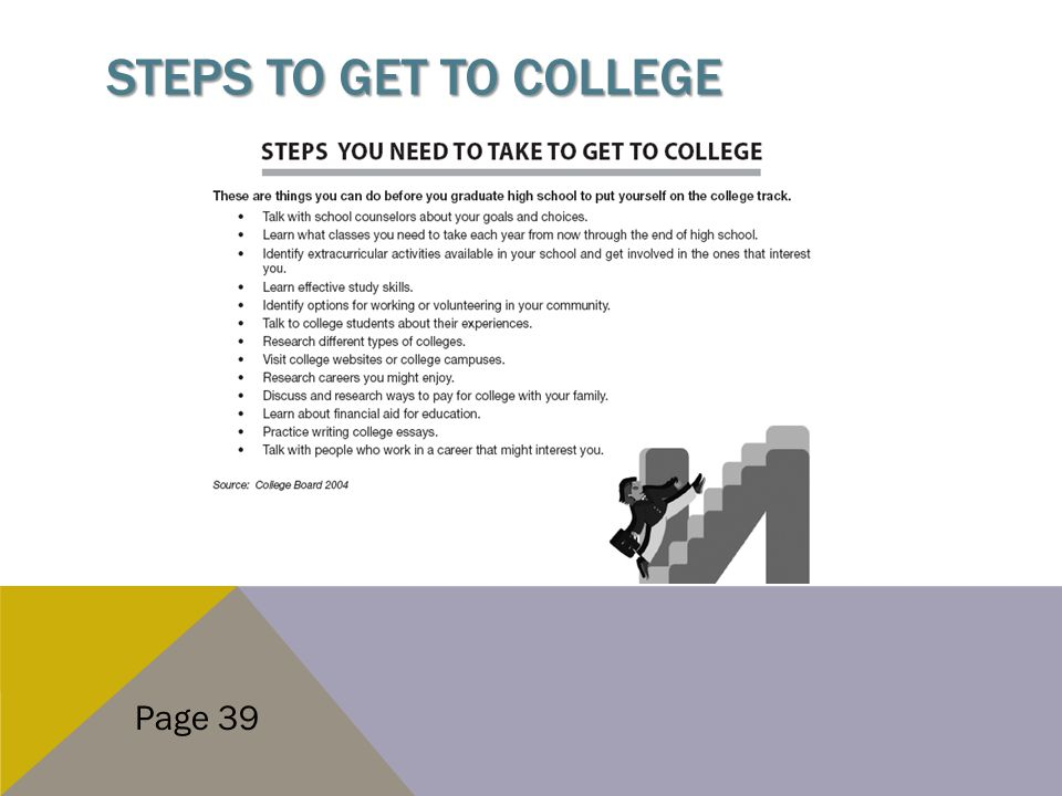 STEPS TO GET TO COLLEGE Page 39