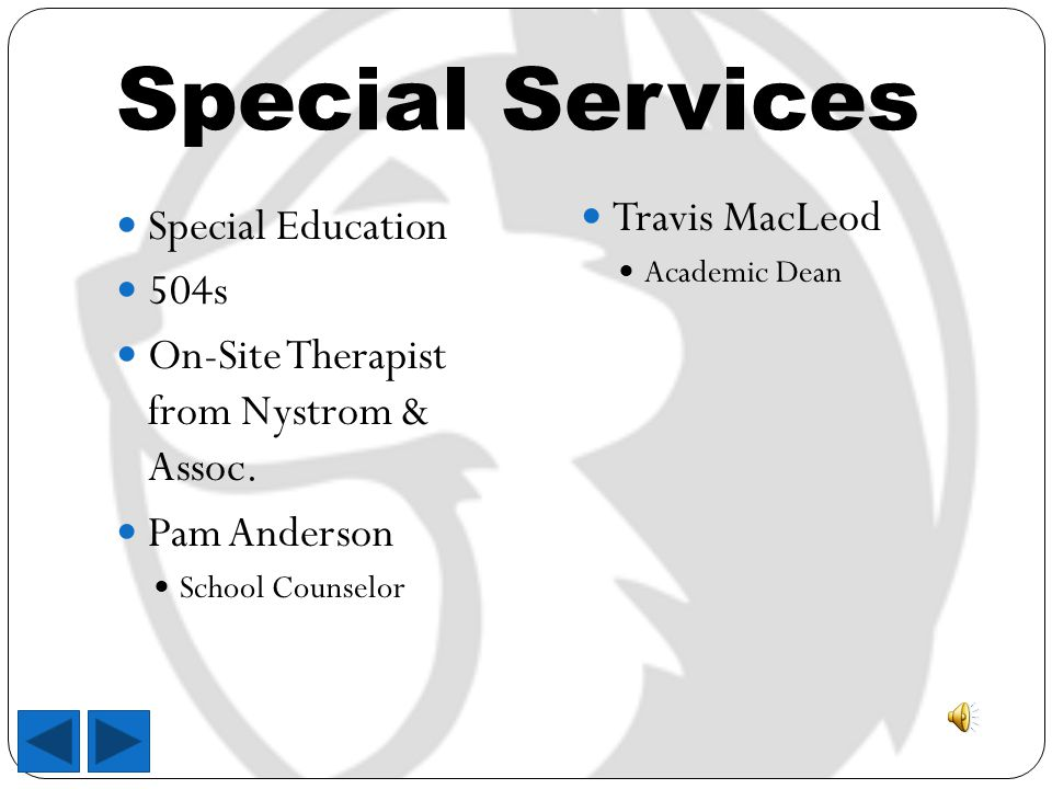 Special Services Special Education 504s On-Site Therapist from Nystrom & Assoc.