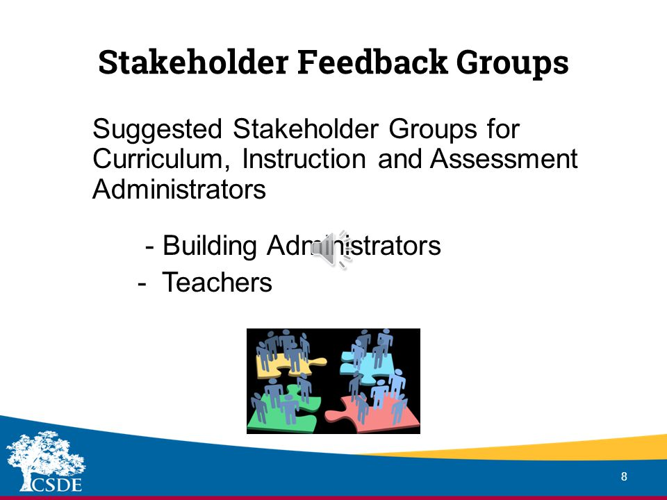 Stakeholder Feedback 7 GUIDELINES Stakeholder Feedback is rated as 10% of the Summative Rating Feedback from relevant stakeholders May use surveys, interviews, focus groups, other methods Valid and reliable methods Surveys must align with CT Leadership Standards Rating based on growth or status performance