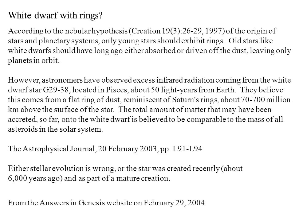 White dwarf with rings.
