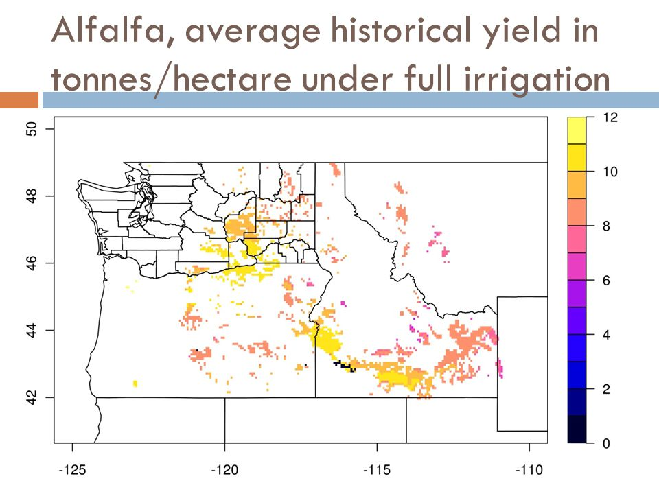 Alfalfa, average historical yield in tonnes/hectare under full irrigation