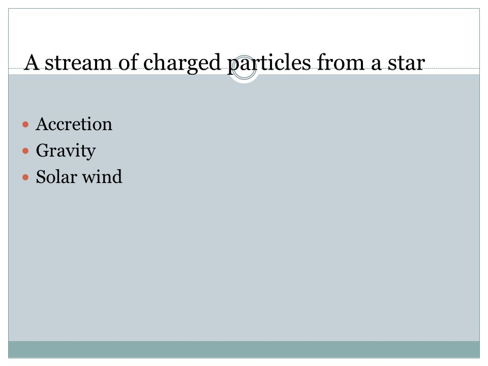 A stream of charged particles from a star Accretion Gravity Solar wind