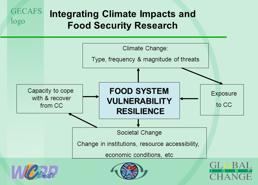 GECAFS logo Integrating Climate Impacts and Food Security Research FOOD SYSTEM VULNERABILITY Capacity to cope with & recover from CC Climate Change: Type, frequency & magnitude of threats Exposure to CC Societal Change Change in institutions, resource accessibility, economic conditions, etc RESILIENCE