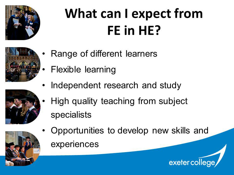 What can I expect from FE in HE.