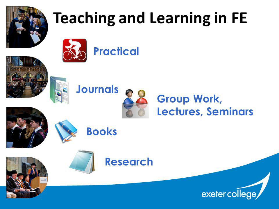 Teaching and Learning in FE Research Journals Group Work, Lectures, Seminars Books Practical