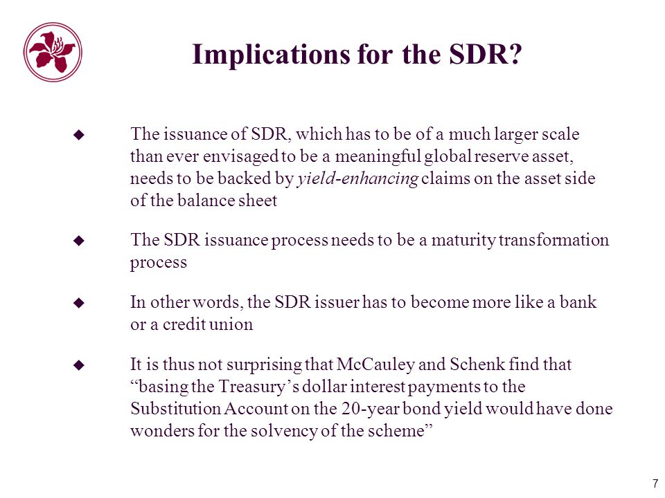 7 Implications for the SDR.