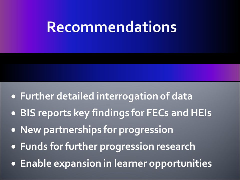  Further detailed interrogation of data  BIS reports key findings for FECs and HEIs  New partnerships for progression  Funds for further progression research  Enable expansion in learner opportunities Recommendations