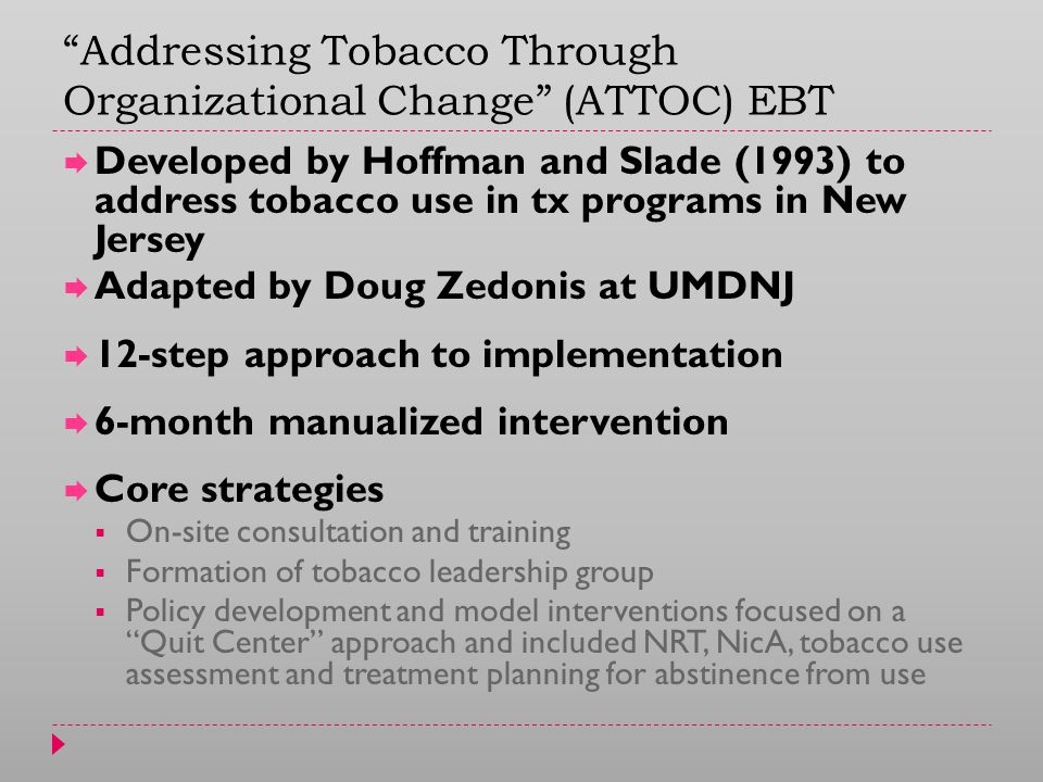 Addressing Tobacco Through Organizational Change (ATTOC) EBT  Developed by Hoffman and Slade (1993) to address tobacco use in tx programs in New Jersey  Adapted by Doug Zedonis at UMDNJ  12-step approach to implementation  6-month manualized intervention  Core strategies  On-site consultation and training  Formation of tobacco leadership group  Policy development and model interventions focused on a Quit Center approach and included NRT, NicA, tobacco use assessment and treatment planning for abstinence from use