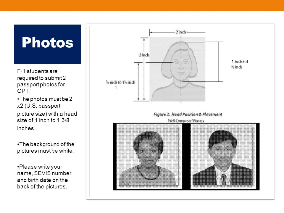 Photos F ‐ 1 students are required to submit 2 passport photos for OPT.
