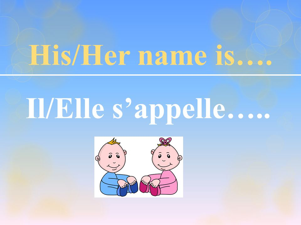 His/Her name is…. Il/Elle s'appelle…..