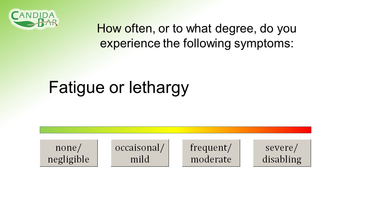 Fatigue or lethargy How often, or to what degree, do you experience the following symptoms: