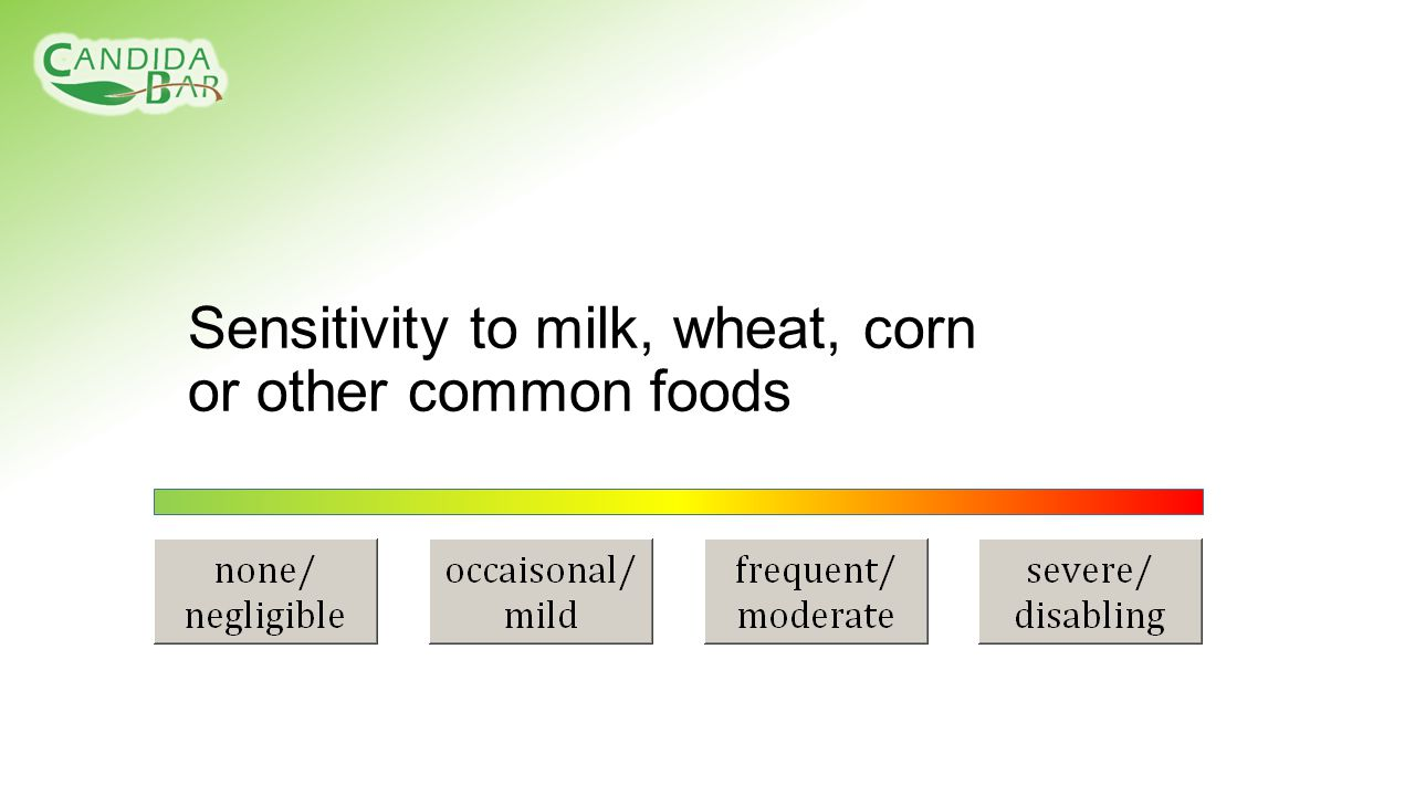 Sensitivity to milk, wheat, corn or other common foods