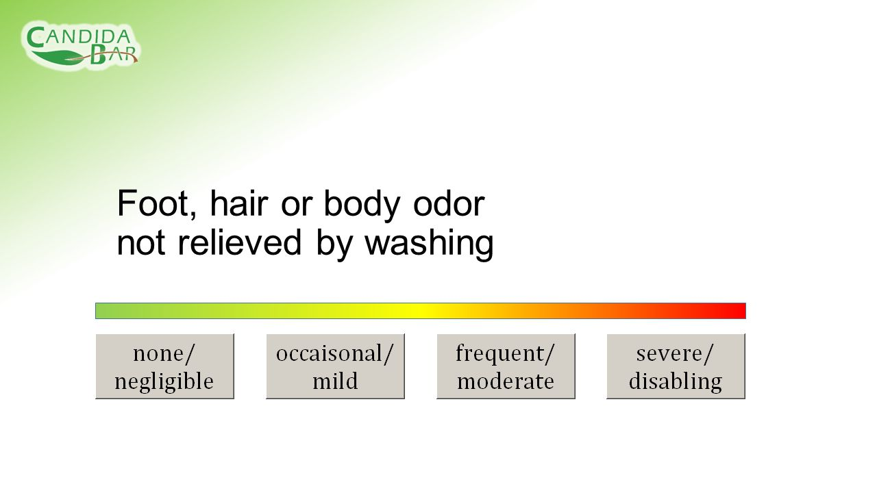 Foot, hair or body odor not relieved by washing
