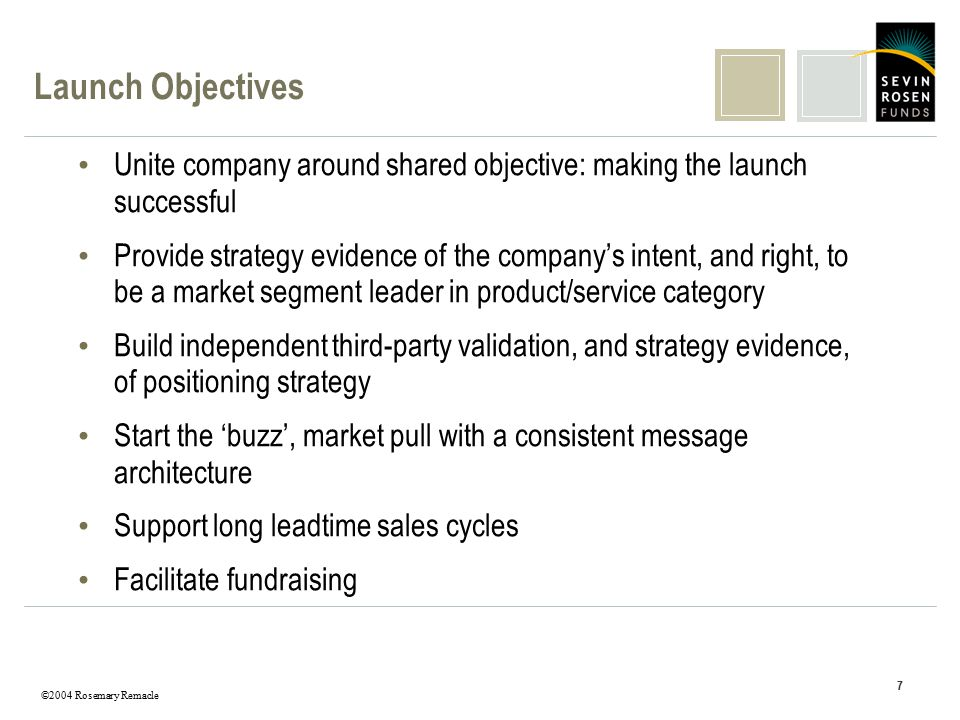©2004 Rosemary Remacle 7 Launch Objectives Unite company around shared objective: making the launch successful Provide strategy evidence of the company's intent, and right, to be a market segment leader in product/service category Build independent third-party validation, and strategy evidence, of positioning strategy Start the 'buzz', market pull with a consistent message architecture Support long leadtime sales cycles Facilitate fundraising
