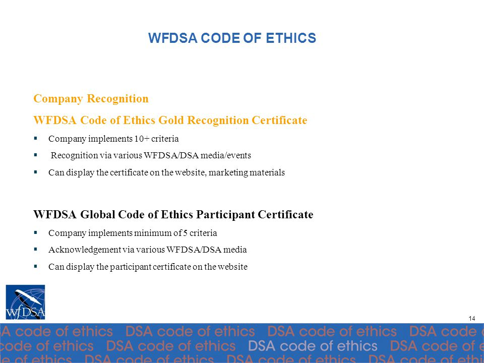 WFDSA Global Code of Ethics Recognition Program Guidelines