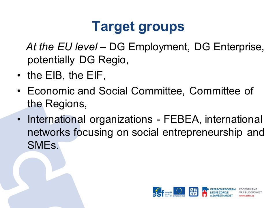 Target groups At the EU level – DG Employment, DG Enterprise, potentially DG Regio, the EIB, the EIF, Economic and Social Committee, Committee of the Regions, International organizations - FEBEA, international networks focusing on social entrepreneurship and SMEs.