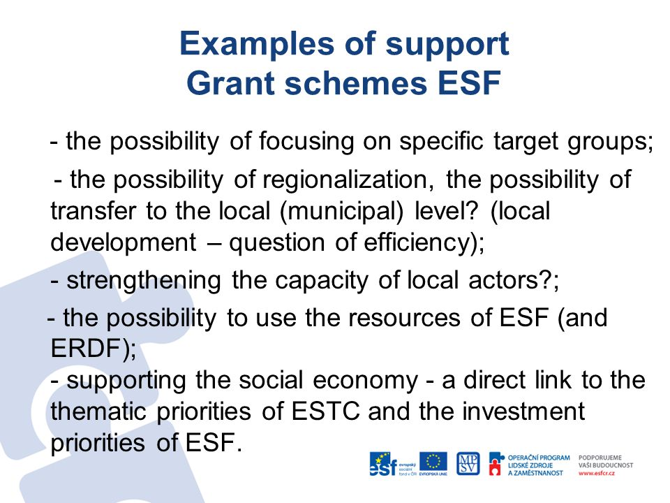 Examples of support Grant schemes ESF - the possibility of focusing on specific target groups; - the possibility of regionalization, the possibility of transfer to the local (municipal) level.