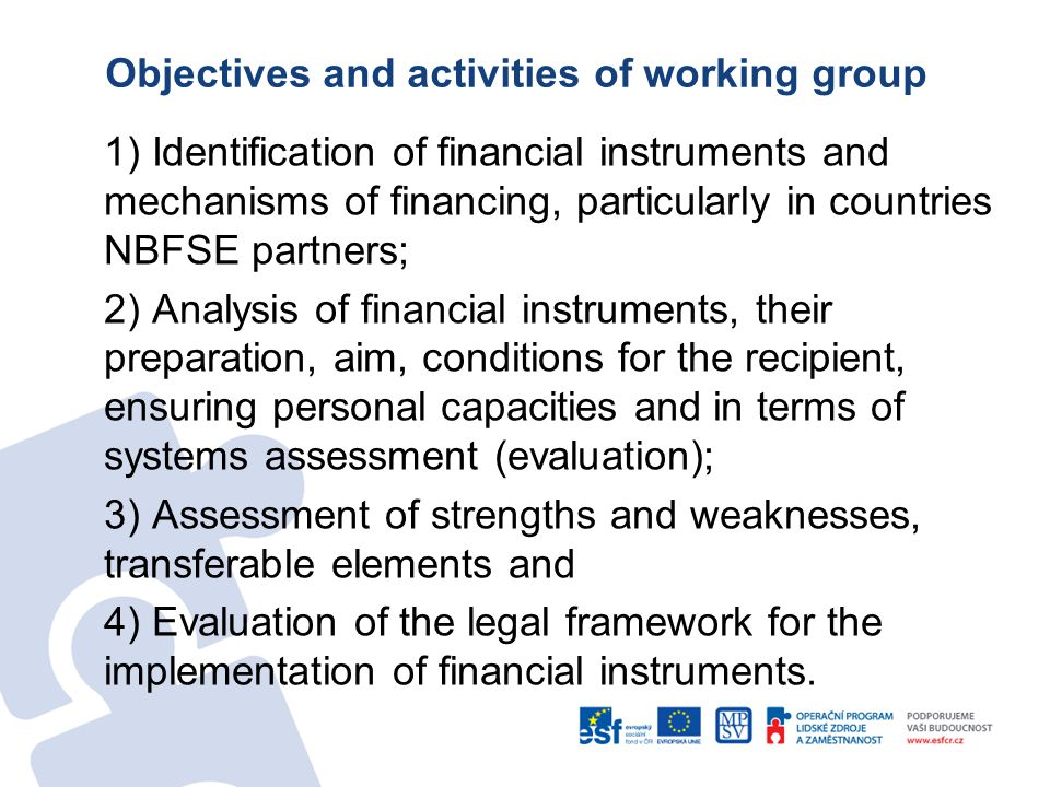 Objectives and activities of working group 1) Identification of financial instruments and mechanisms of financing, particularly in countries NBFSE partners; 2) Analysis of financial instruments, their preparation, aim, conditions for the recipient, ensuring personal capacities and in terms of systems assessment (evaluation); 3) Assessment of strengths and weaknesses, transferable elements and 4) Evaluation of the legal framework for the implementation of financial instruments.
