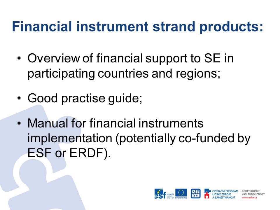 Financial instrument strand products: Overview of financial support to SE in participating countries and regions; Good practise guide; Manual for financial instruments implementation (potentially co-funded by ESF or ERDF).