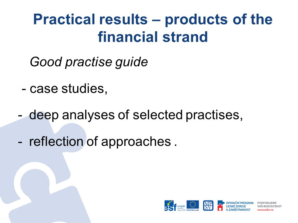Practical results – products of the financial strand Good practise guide - case studies, -deep analyses of selected practises, -reflection of approaches.