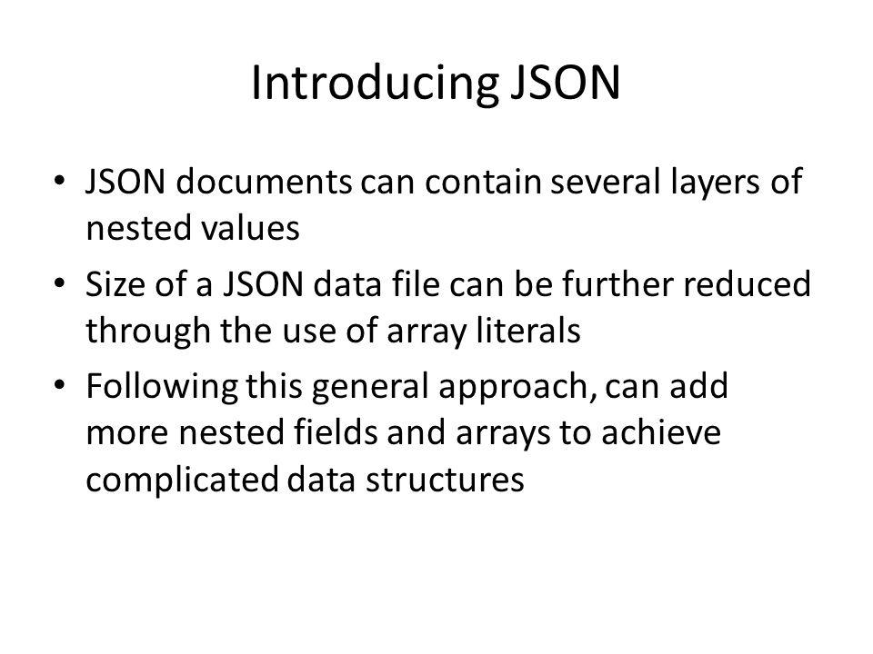 Special Topic JSON  Introducing JSON JSON (JavaScript