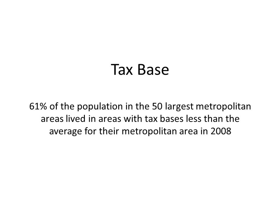 Tax Base 61% of the population in the 50 largest metropolitan areas lived in areas with tax bases less than the average for their metropolitan area in 2008