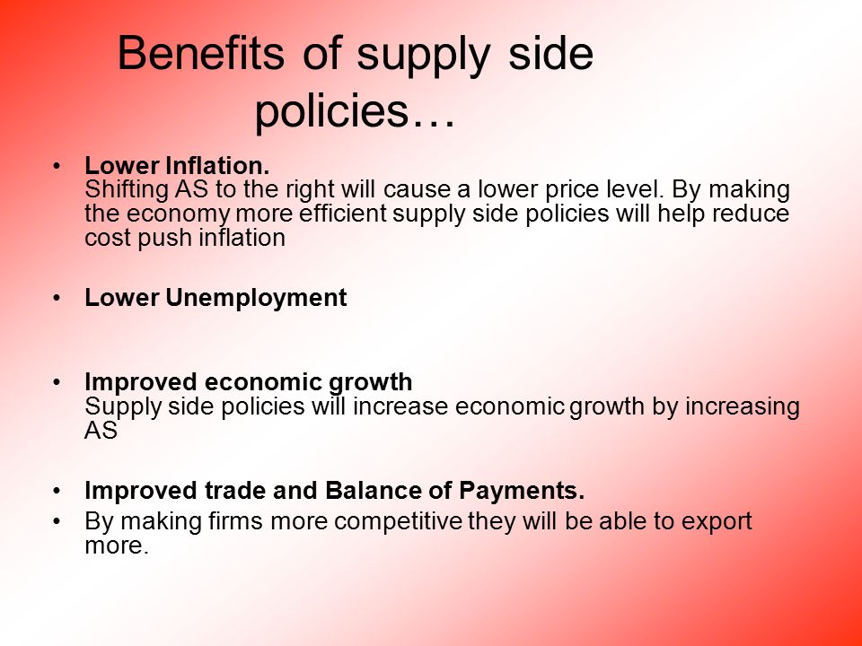 Benefits of supply side policies… Lower Inflation.