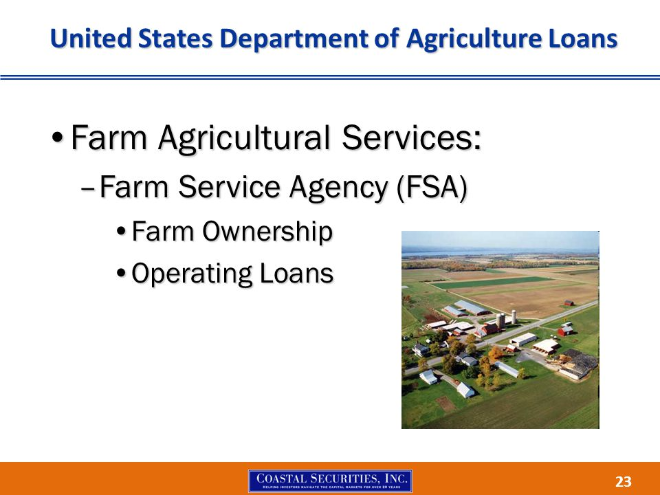 23 United States Department of Agriculture Loans Farm Agricultural Services:Farm Agricultural Services: –Farm Service Agency (FSA) Farm OwnershipFarm Ownership Operating LoansOperating Loans