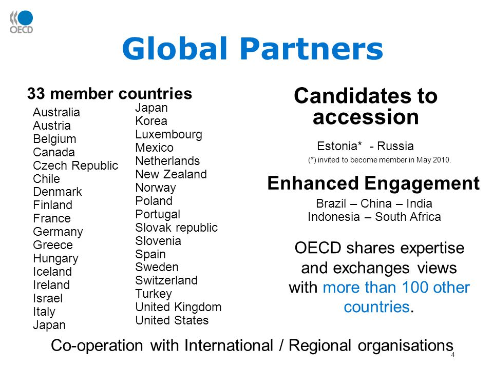 4 Global Partners OECD shares expertise and exchanges views with more than 100 other countries.