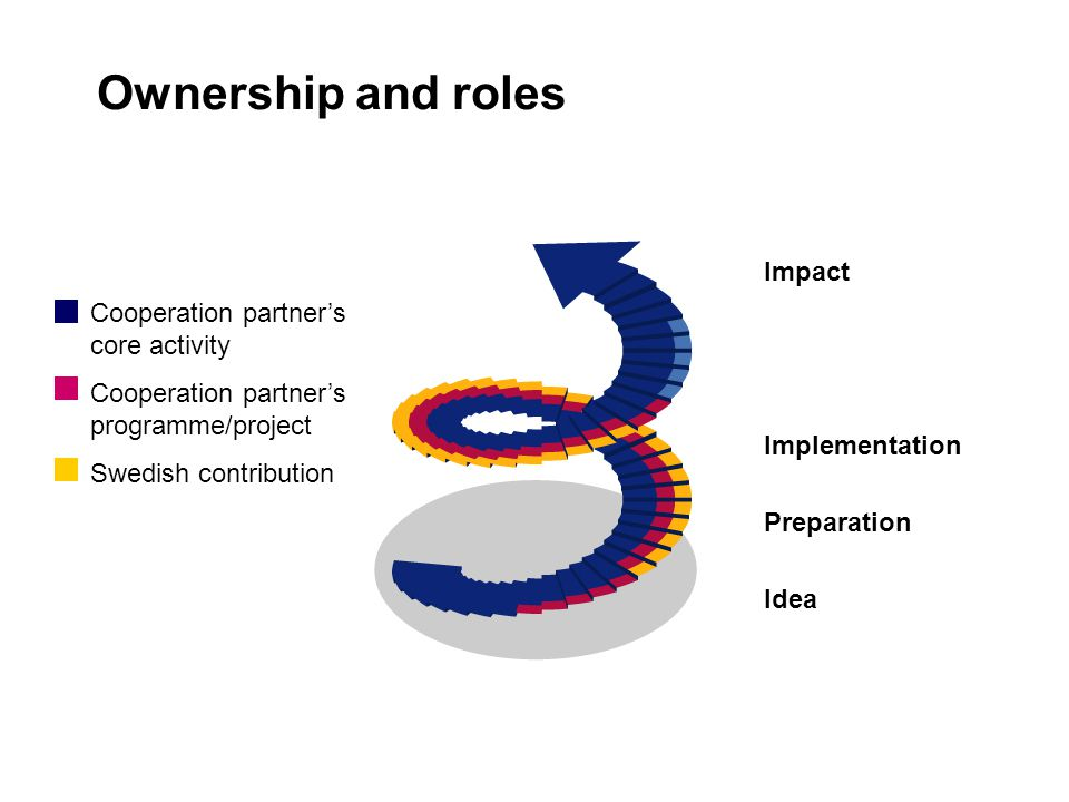 Ownership and roles Cooperation partner's core activity Cooperation partner's programme/project Swedish contribution Impact Implementation Preparation Idea