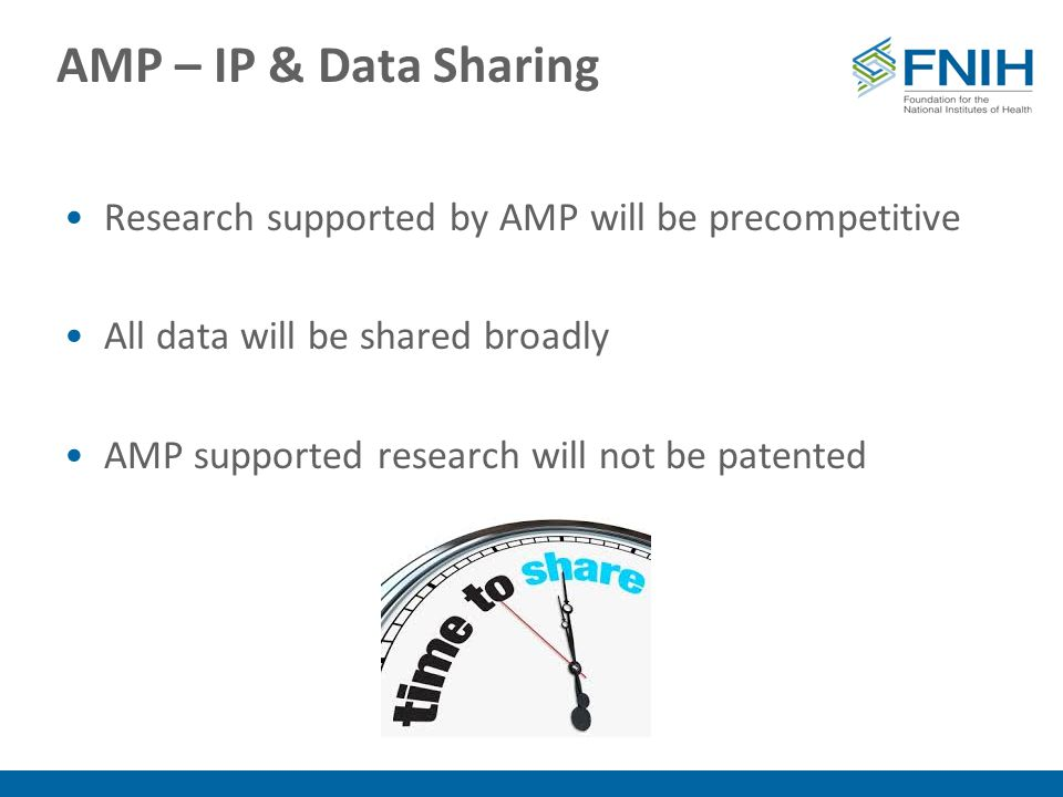 AMP – IP & Data Sharing Research supported by AMP will be precompetitive All data will be shared broadly AMP supported research will not be patented