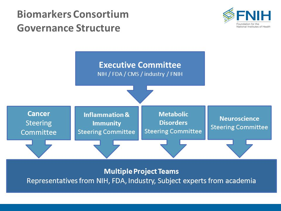 Biomarkers Consortium Governance Structure Executive Committee NIH / FDA / CMS / industry / FNIH Inflammation & Immunity Steering Committee Neuroscience Steering Committee Metabolic Disorders Steering Committee Cancer Steering Committee Multiple Project Teams Representatives from NIH, FDA, Industry, Subject experts from academia